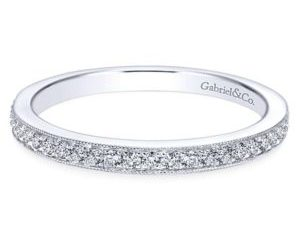 Gabriel 14k White Gold Victorian Straight Wedding BandWB7528W44JJ 11 - Vintage 14k White Gold Round Straight Diamond Wedding Band
