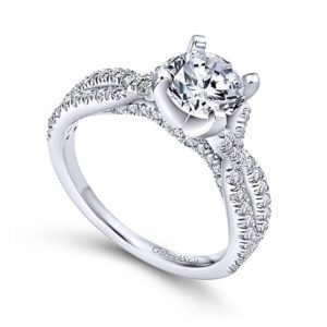 Gabriel Alicia 14k White Gold Round Twisted Engagement RingER7544W44JJ 31 - 14k White Gold Round Twisted Diamond Engagement Ring
