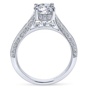 Gabriel Arlo 14k White Gold Round Split Shank Engagement RingER6286W44JJ 21 - 14k White Gold Round Split Shank Diamond Engagement Ring
