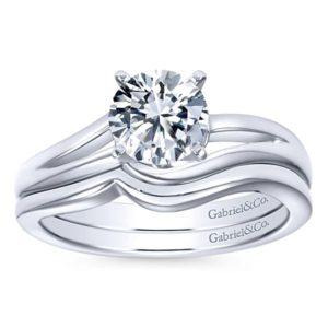 Gabriel Elise 14k White Gold Round Bypass Engagement RingER6680W4JJJ 41 - 14k White Gold Round Bypass Engagement Ring