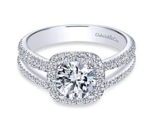 Gabriel Hillary 14k White Gold Round Halo Engagement RingER7786W44JJ 11 - 14k White Gold Round Halo Diamond Engagement Ring