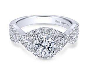 Gabriel Kendie 14k White Gold Round Halo Engagement RingER5798W44JJ 11 - 14k White Gold Round Halo Diamond Engagement Ring