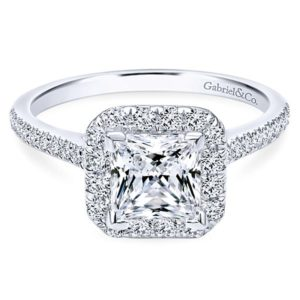 Gabriel Patience 14k White Gold Princess Cut Halo Engagement RingER7266W44JJ 11 - 14k White Gold Princess Cut Halo Diamond Engagement Ring
