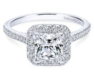 Gabriel Patience 14k White Gold Princess Cut Halo Engagement RingER7266W44JJ 11 - 14k White Gold Round Bypass Engagement Ring