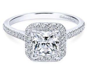 Gabriel Patience 14k White Gold Princess Cut Halo Engagement RingER7266W44JJ 11 - 14k White Gold Princess Cut Halo Diamond Engagement Ring