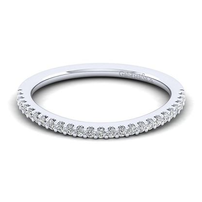 Gabriel 14k White Gold Contemporary Curved Wedding BandWB7277R5W44JJ 11 - 14k White Gold Curved Diamond Wedding Band