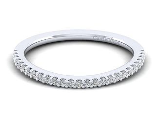 Gabriel 14k White Gold Contemporary Curved Wedding BandWB7277R5W44JJ 11 - 14k White Gold Stackable Diamond Ladies' Ring