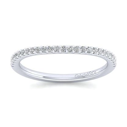 Gabriel 14k White Gold Contemporary Curved Wedding BandWB7277R5W44JJ 51 - 14k White Gold Curved Diamond Wedding Band