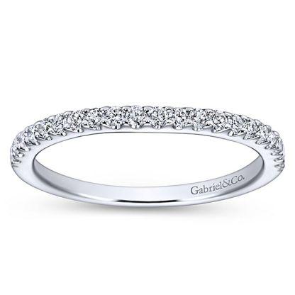 Gabriel 14k White Gold Contemporary Curved Wedding BandWB7482W44JJ 51 - 14k White Gold Curved Diamond