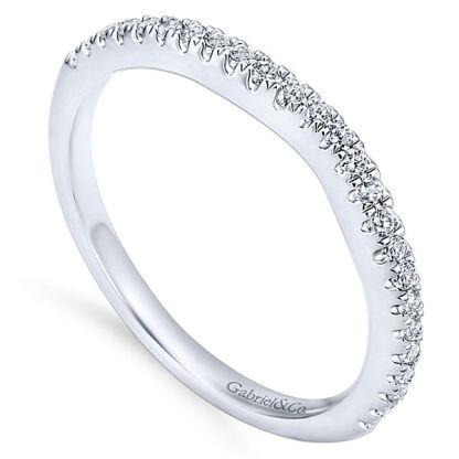 Gabriel 14k White Gold Contemporary Curved Wedding BandWB8152W44JJ 31 - 14k White Gold Round Curved Diamond