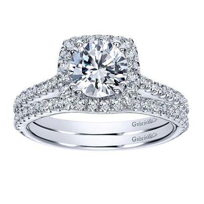 Gabriel 14k White Gold Contemporary Curved Wedding BandWB8152W44JJ 41 - 14k White Gold Round Curved Diamond
