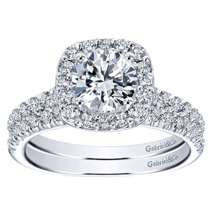 Gabriel 14k White Gold Contemporary Straight Wedding BandWB6872W44JJ 41 - 14k White Gold Round Straight Diamond