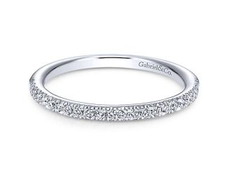 Gabriel 14k White Gold Contemporary Straight Wedding BandWB6984W44JJ 11 - 14k White Gold Round Halo Diamond