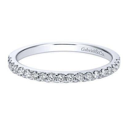 Gabriel 14k White Gold Contemporary Straight Wedding BandWB7510W44JJ 11 - 14k White Gold Round Straight Diamond