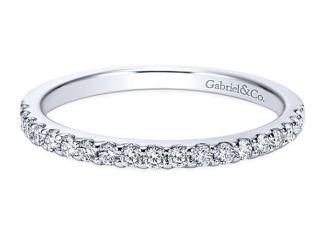 Gabriel 14k White Gold Contemporary Straight Wedding BandWB7510W44JJ 11 - 14k White Gold Round 3 Stones Halo Diamond