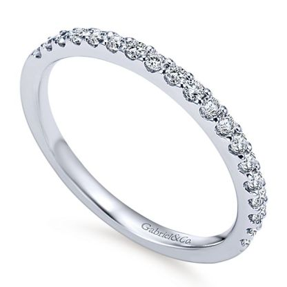 Gabriel 14k White Gold Contemporary Straight Wedding BandWB7510W44JJ 31 - 14k White Gold Round Straight Diamond