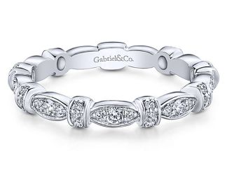 Gabriel 14k White Gold Stackable Ladies RingLR4579W45JJ 11 - 14k White Gold Stackable Diamond Ladies' Ring
