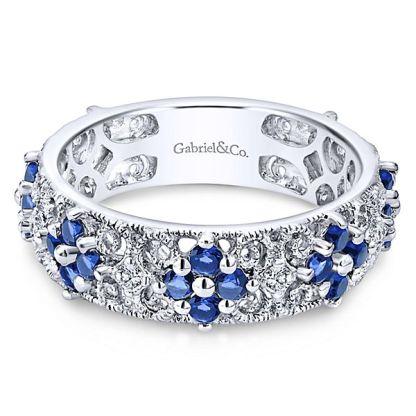 Gabriel 14k White Gold Stackable Ladies RingLR4850W45SA 11 - 14k White Gold Stackable Diamond A Quality Sapphire Ladies' Ring