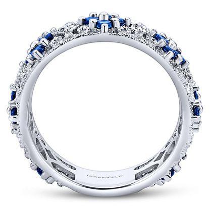 Gabriel 14k White Gold Stackable Ladies RingLR4850W45SA 21 - 14k White Gold Stackable Diamond A Quality Sapphire Ladies' Ring