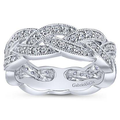 Gabriel 14k White Gold Stackable Ladies RingLR5673W45JJ 41 - 14k White Gold Stackable Diamond Ladies' Ring