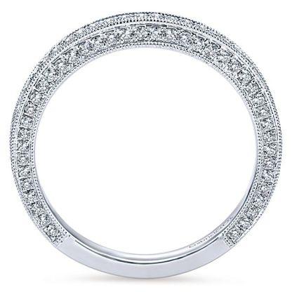Gabriel 14k White Gold Victorian Straight Wedding BandWB7256W44JJ 21 - Vintage 14k White Gold Round Straight Diamond