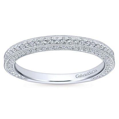 Gabriel 14k White Gold Victorian Straight Wedding BandWB7256W44JJ 51 - Vintage 14k White Gold Round Straight Diamond