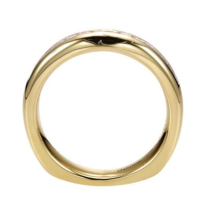 Gabriel 14k Yellow Gold Contemporary Straight Wedding BandWB3965Y44JJ 21 - 14k Yellow Gold Straight Diamond Wedding Band