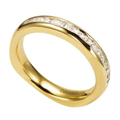 Gabriel 14k Yellow Gold Contemporary Straight Wedding BandWB3965Y44JJ 31 - 14k Yellow Gold Straight Diamond Wedding Band
