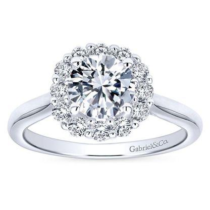 Gabriel Althea 14k White Gold Round Halo Engagement RingER7498W44JJ 51 - 14k White Gold Round Halo Diamond