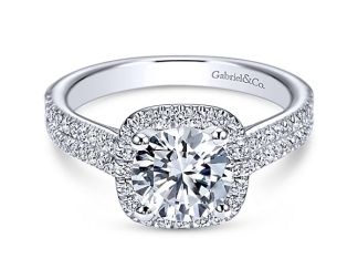 Gabriel Brianna 14k White Gold Round Halo Engagement RingER6984W44JJ 11 - 14k White Gold Round Halo Diamond