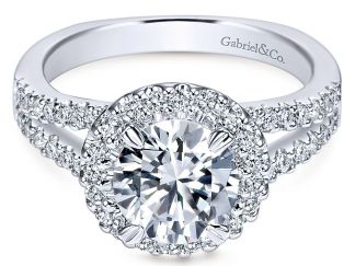 Gabriel Drew 14k White Gold Round Halo Engagement RingER4112W44JJ 11 - 14k White Gold Round Halo Diamond