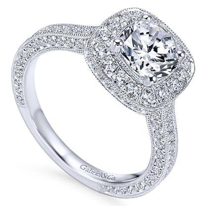 Gabriel Mariah 14k White Gold Round Halo Engagement RingER7256W44JJ 31 - Vintage 14k White Gold Round Halo Diamond