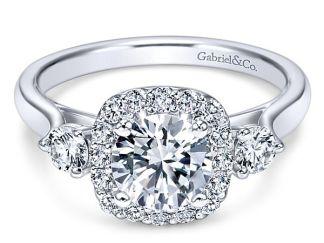 Gabriel Martine 14k White Gold Round 3 Stones Halo Engagement RingER7510W44JJ 11 - 14k White Gold Curved Diamond