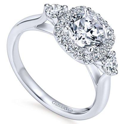 Gabriel Martine 14k White Gold Round 3 Stones Halo Engagement RingER7510W44JJ 31 - 14k White Gold Round 3 Stones Halo Diamond