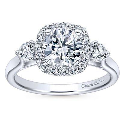 Gabriel Martine 14k White Gold Round 3 Stones Halo Engagement RingER7510W44JJ 51 - 14k White Gold Round 3 Stones Halo Diamond