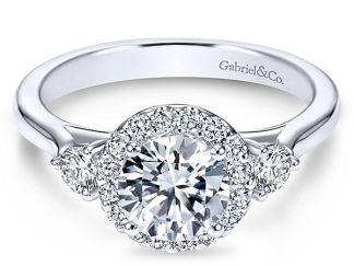 Gabriel Noelle 14k White Gold Round 3 Stones Halo Engagement RingER7482W44JJ 11 - 14k White Gold Round 3 Stones Halo Diamond