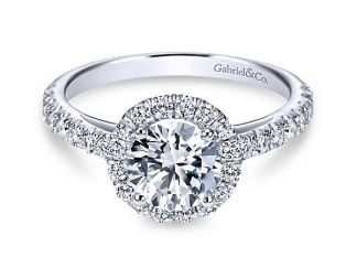 Gabriel Rachel 14k White Gold Round Halo Engagement RingER7261W44JJ 11 - 14k White Gold Round Halo Diamond
