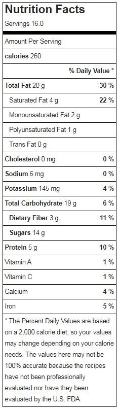 Raw Vegan Chocolate Tart Nutrition Facts