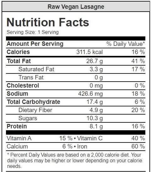 Raw Vegan Lasagne Nutrition Facts