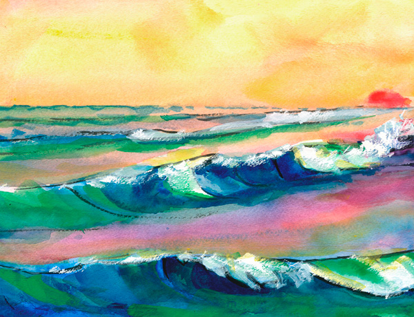 Red Eye Seascape watercolor