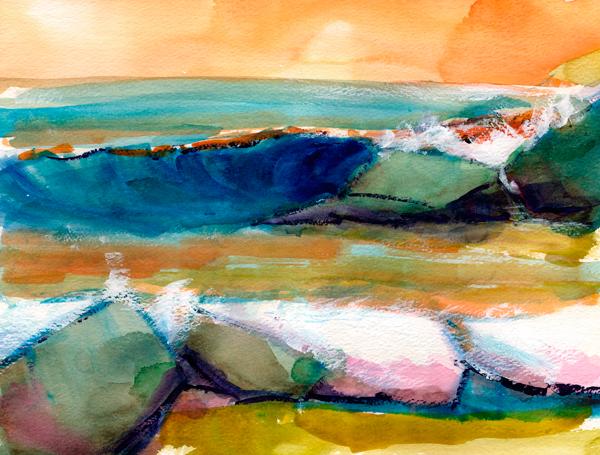 rock crush watercolor seascape painting
