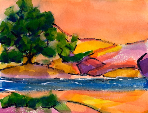 colorado river watercolor