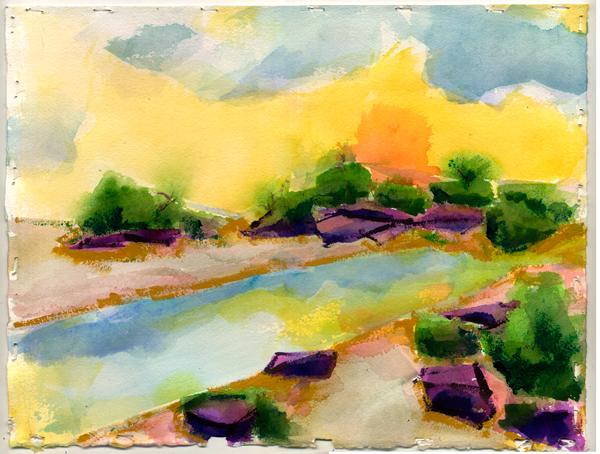 desert mirage painting paper