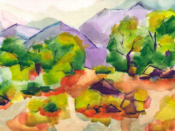 Western Foothills watercolor painting