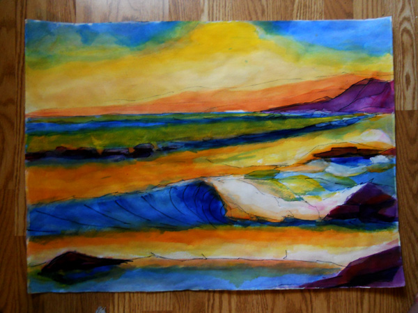 watercolor seascape painting