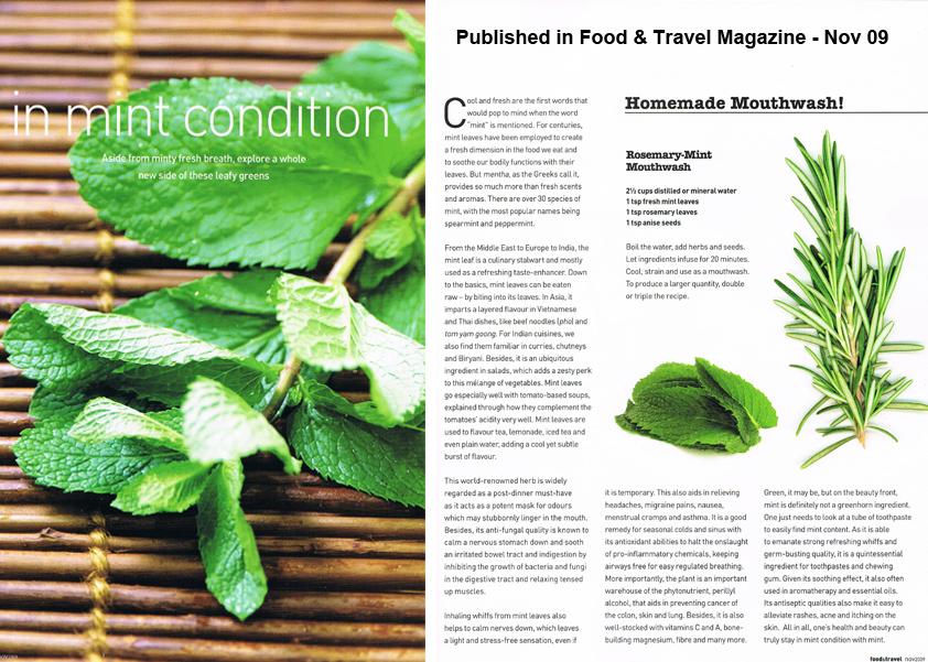 food amp travel magazine nov09 basic write up on mint leaves