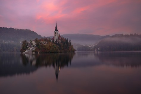 Church reflection on water
