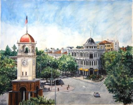 Title: Downtown Santa Cruz Medium: Water color Date: June 12, 2013 Dimensions: 20 ¼ inches x 16 ¼ inches