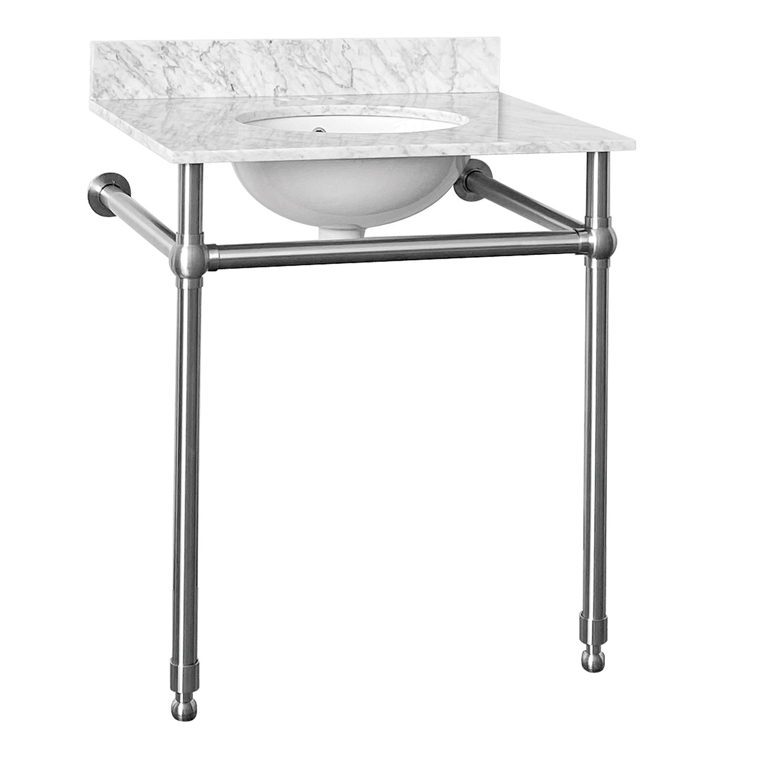 30 inch console sink with stainless steel legs