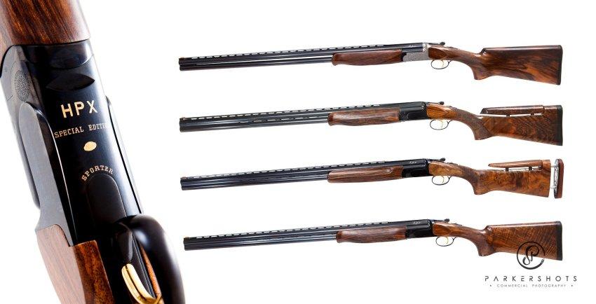 Collage of John Jeffries custom shotguns
